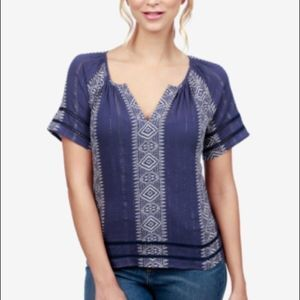 NEW! MACY'S LUCKY BRAND STRIPED PEASANT TOP XSMALL